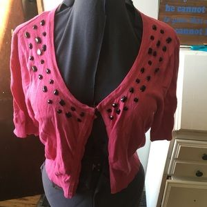 Torrid hot pink gemstone cropped cardigan
